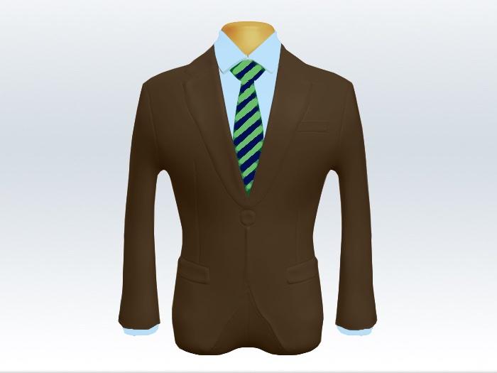 ブラウンスーツと緑紺ストライプネクタイと青ワイシャツ