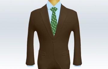 ブラウンスーツとグリーンドットネクタイと青ワイシャツ