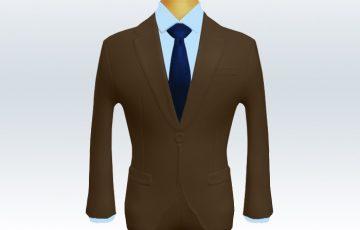 ブラウンスーツとネイビー無地ネクタイと青ワイシャツ