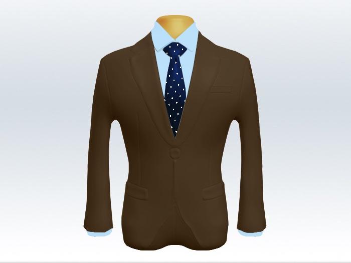 ブラウンスーツとネイビーポルカドットネクタイと青ワイシャツ