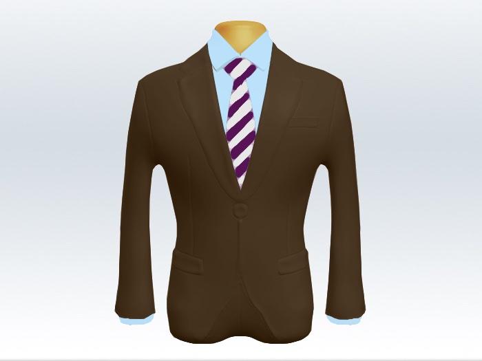 ブラウンスーツとパープルホワイトストライプネクタイと青ワイシャツ