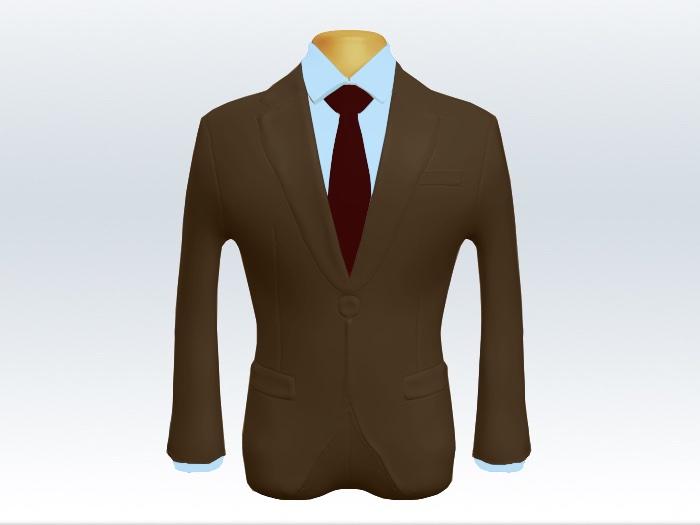 ブラウンスーツと赤色無地ネクタイと青ワイシャツ