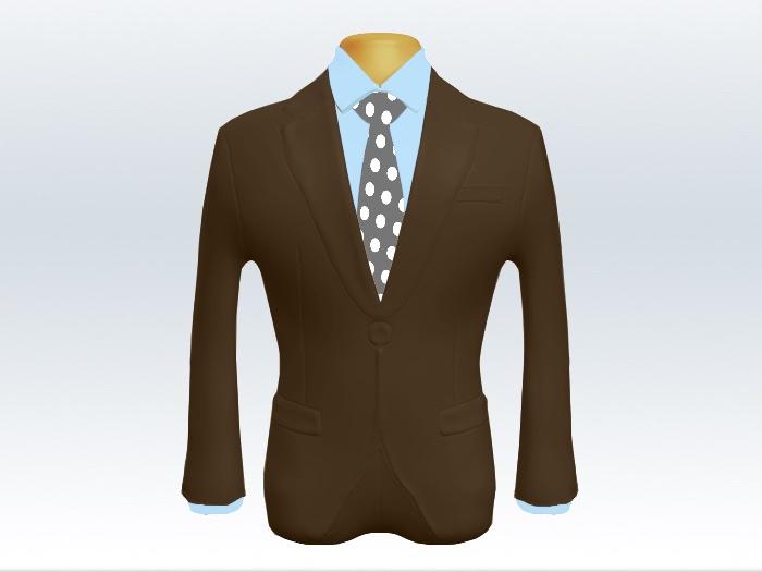 ブラウンスーツと灰色ポルカドットネクタイと青ワイシャツ