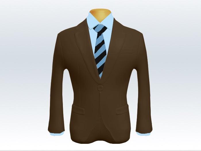 ブラウンスーツとブルーブラックストライプネクタイと青ワイシャツ