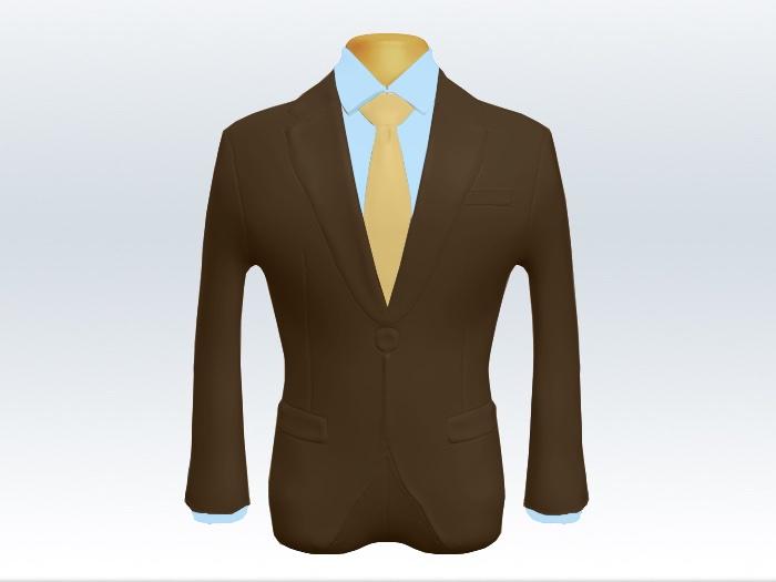 ブラウンスーツと黄色無地ネクタイと青ワイシャツ