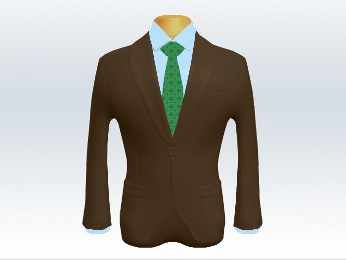 ブラウンスーツと緑色小紋柄ネクタイと青ワイシャツ