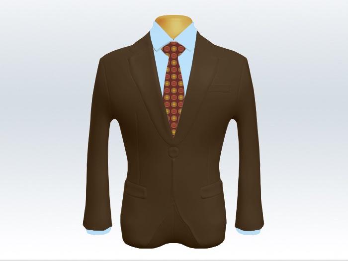 ブラウンスーツとレッド小紋柄ネクタイと青ワイシャツ