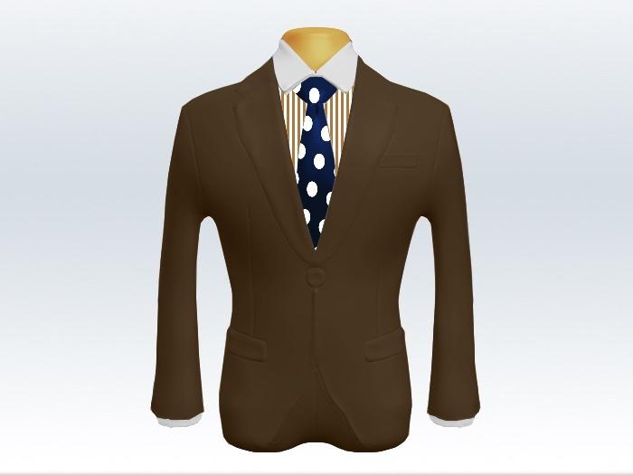 ブラウンスーツと紺色ドットネクタイとロンドンストライプワイシャツ