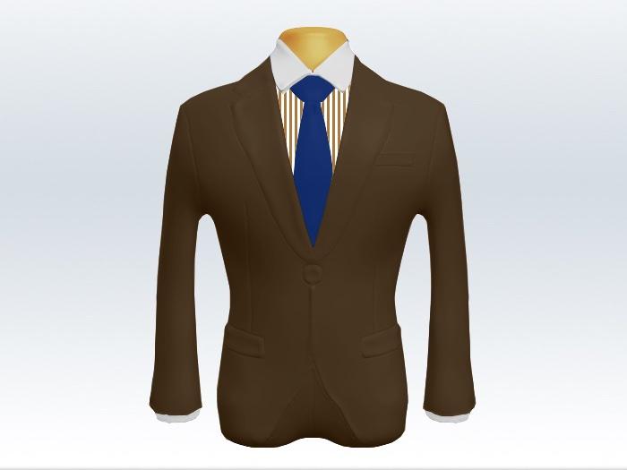 ブラウンスーツと青色無地ネクタイとロンドンストライプワイシャツ