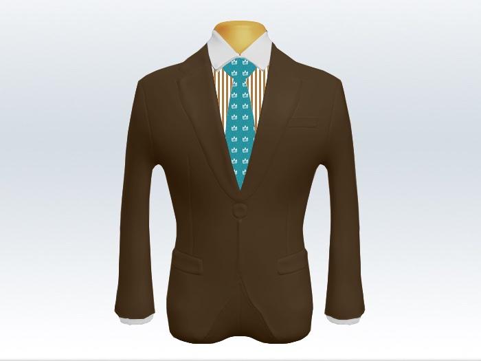 ブラウンスーツと水色小紋柄ネクタイとロンドンストライプワイシャツ