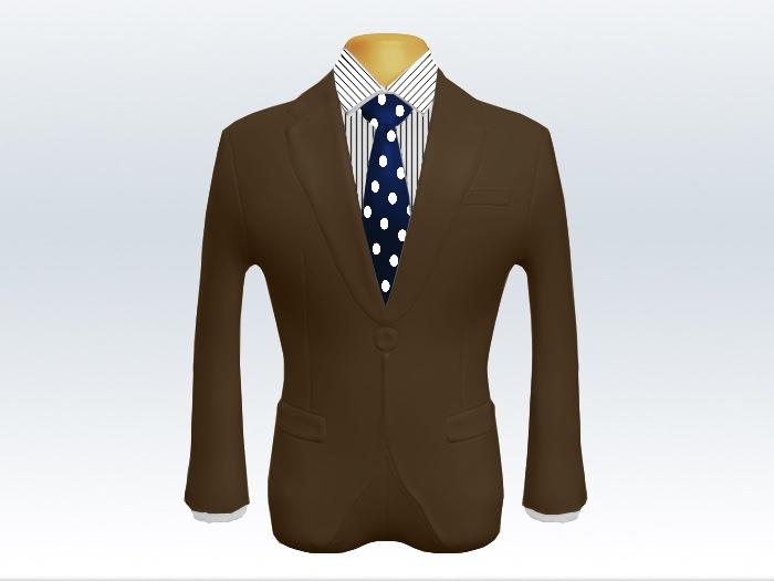 ブラウンスーツと紺色ドットネクタイとペンシルストライプワイシャツ