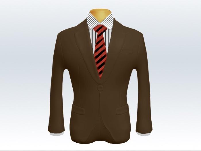 ブラウンスーツと赤黒ストライプネクタイとペンシルストライプワイシャツ