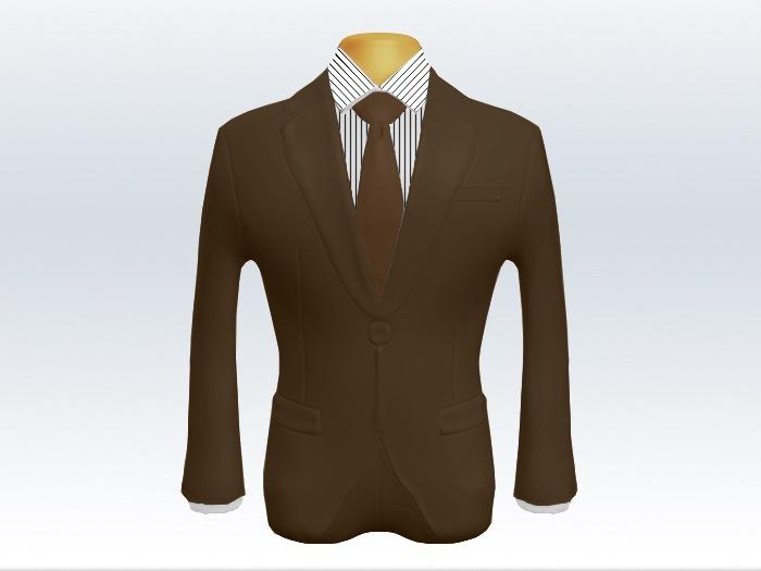 ブラウンスーツと茶色無地ネクタイとペンシルストライプワイシャツ
