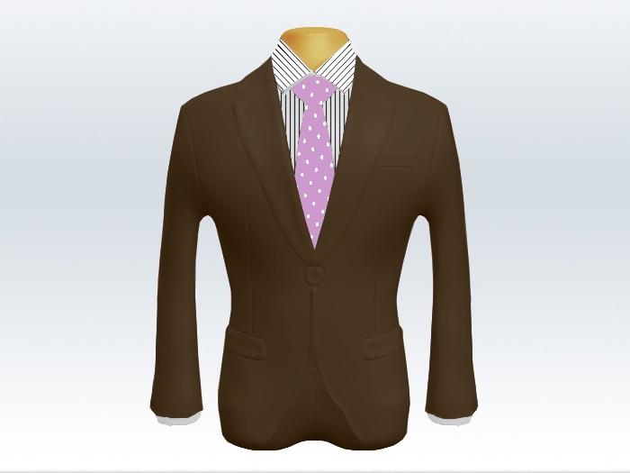 ブラウンスーツと紫色ドットネクタイとペンシルストライプワイシャツ