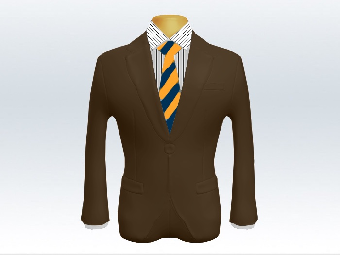 ブラウンスーツとイエローネイビーストライプネクタイとペンシルストライプワイシャツ