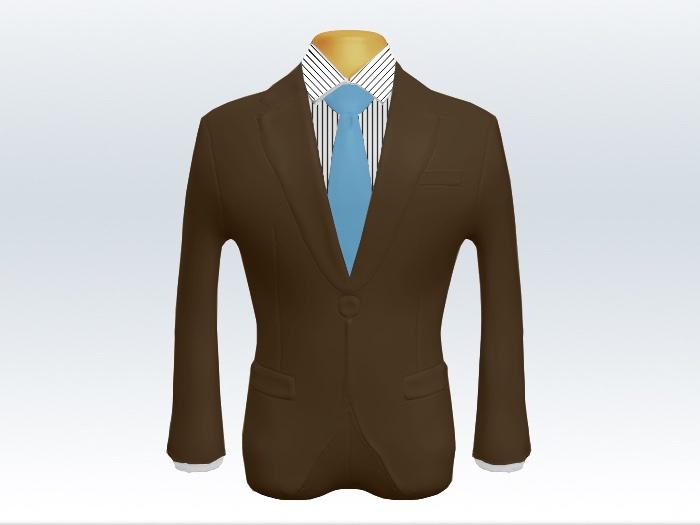 ブラウンスーツと水色無地ネクタイとペンシルストライプワイシャツ