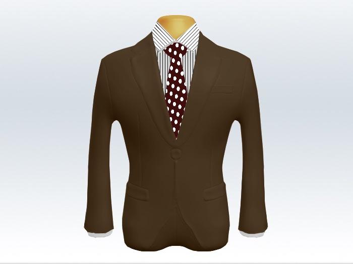 ブラウンスーツと赤色ドットネクタイとペンシルストライプワイシャツ
