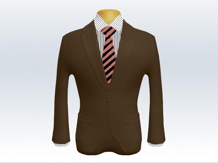 ブラウンスーツとピンクブラックストライプネクタイとペンシルストライプワイシャツ