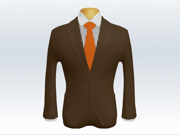 ブラウンスーツとオレンジ無地ネクタイとペンシルストライプワイシャツ