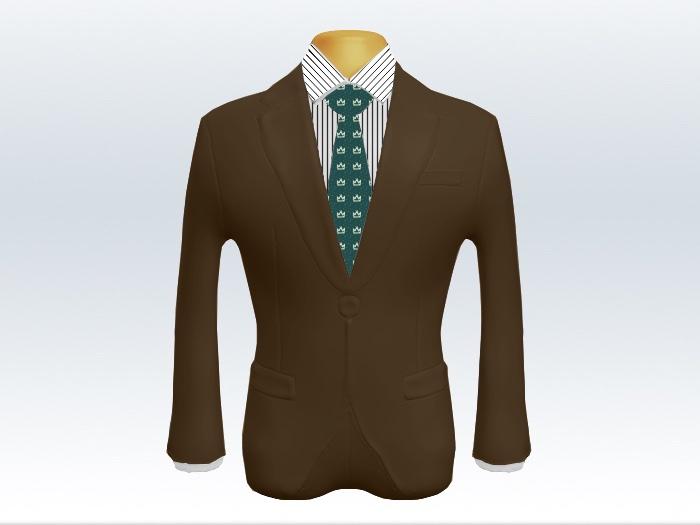 ブラウンスーツとグリーン小紋柄ネクタイとペンシルストライプワイシャツ