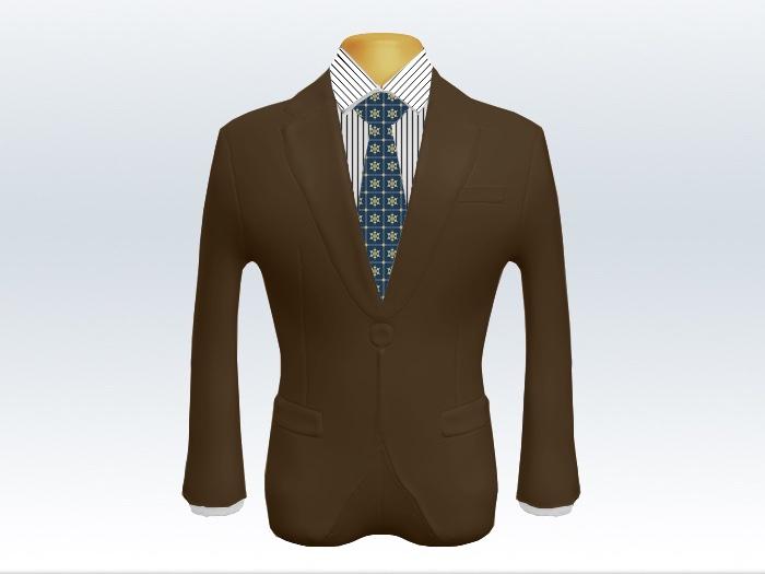 ブラウンスーツとブルー小紋柄ネクタイとペンシルストライプワイシャツ