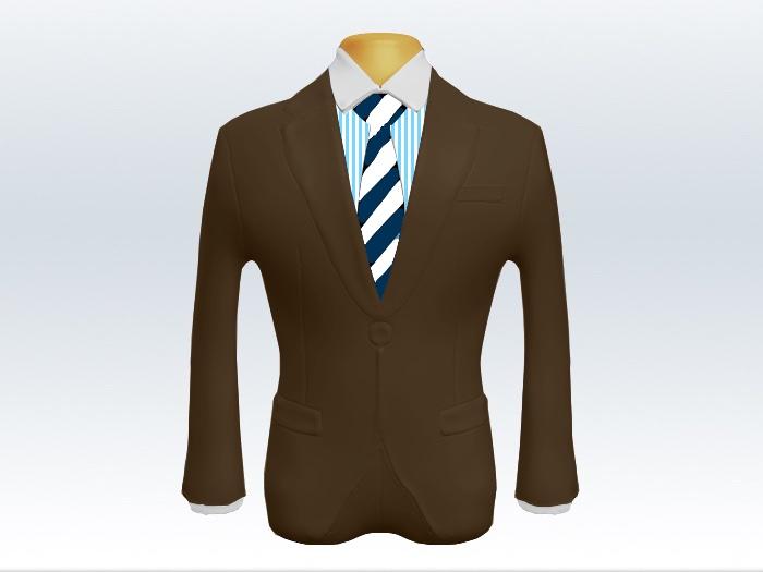 ブラウンスーツとネイビーホワイトストライプネクタイとロンドンストライプワイシャツ