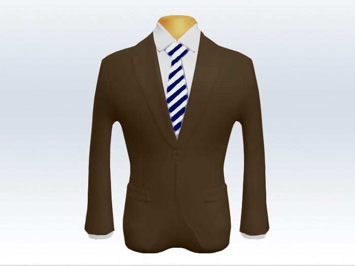 ブラウンスーツと紺白ストライプネクタイと白ワイシャツ