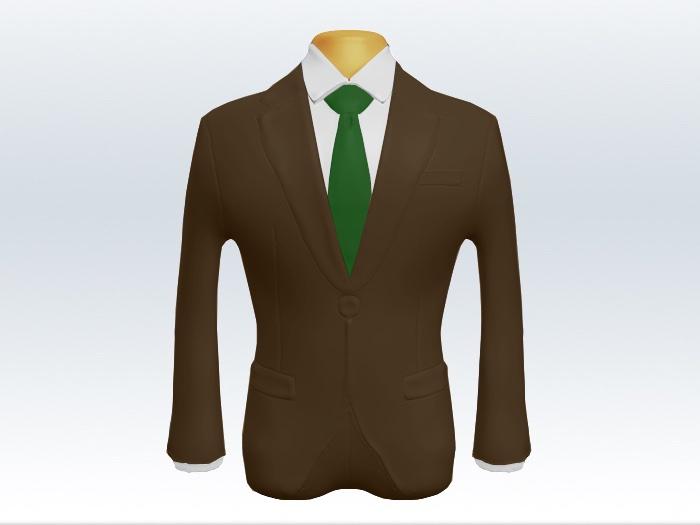 ブラウンスーツと緑色無地ネクタイと白ワイシャツ