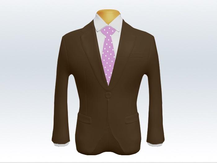 ブラウンスーツと紫色ドットネクタイと白ワイシャツ