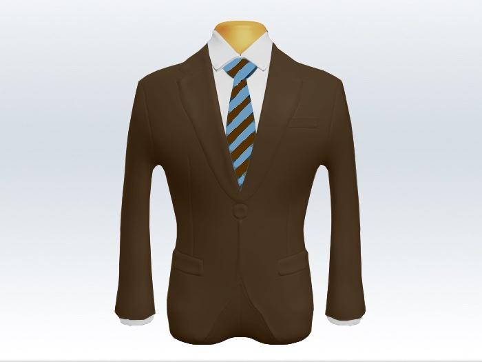 ブラウンスーツと茶水色ストライプネクタイと白ワイシャツ
