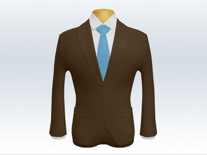 ブラウンスーツと水色無地ネクタイと白ワイシャツ