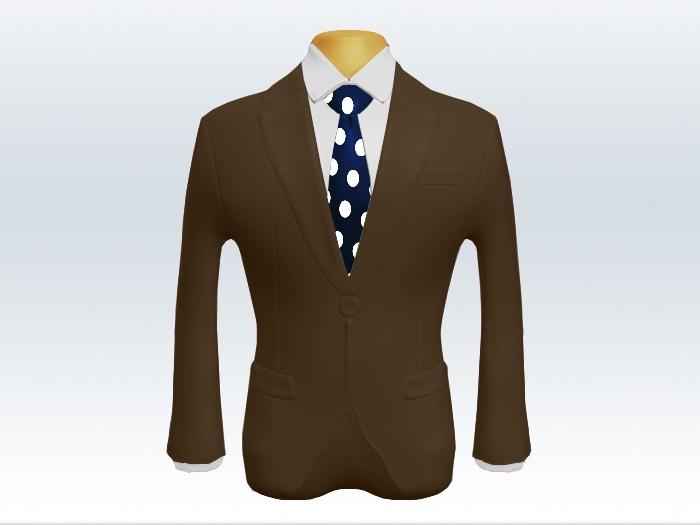 ブラウンスーツと紺色コインドットネクタイと白ワイシャツ
