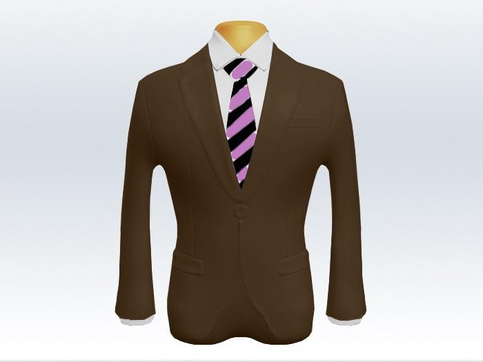 ブラウンスーツと紫黒ストライプネクタイと白ワイシャツ