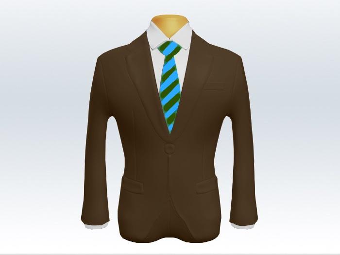 ブラウンスーツと水色緑ストライプネクタイと白ワイシャツ