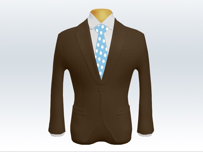 ブラウンスーツと水色ポルカドットネクタイと白ワイシャツ