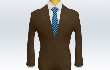 ブラウンスーツとナローストライプネクタイと白ワイシャツ