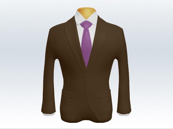 ブラウンスーツと紫色無地ネクタイと白ワイシャツ