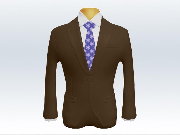 ブラウンスーツと紫色小紋柄ネクタイと白ワイシャツ