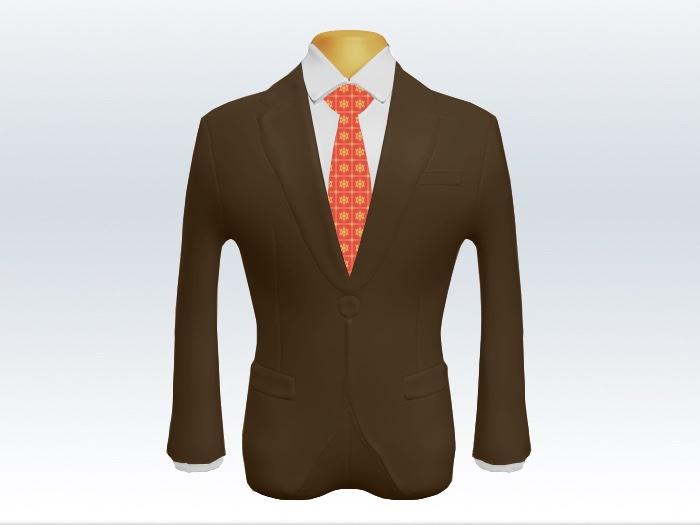 ブラウンスーツと朱色小紋柄ネクタイと白ワイシャツ