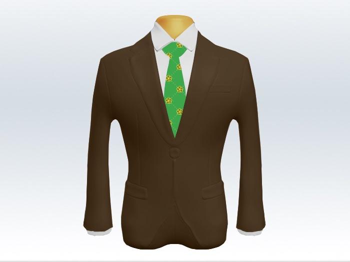 ブラウンスーツと黄緑色小紋柄ネクタイと白ワイシャツ