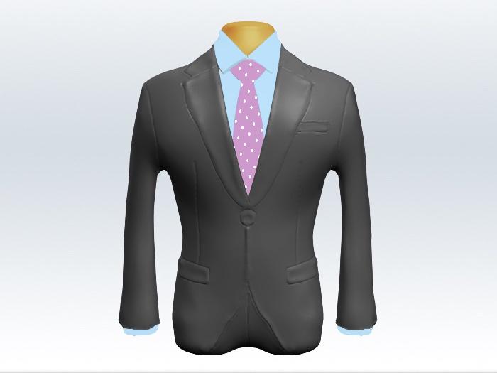 ライトグレースーツと紫色ドット柄ネクタイと青ワイシャツ