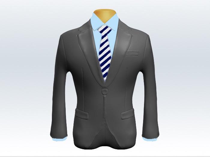 ライトグレースーツと紺白ストライプネクタイと青ワイシャツ