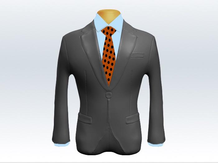 ライトグレースーツとオレンジドット柄ネクタイと青ワイシャツ