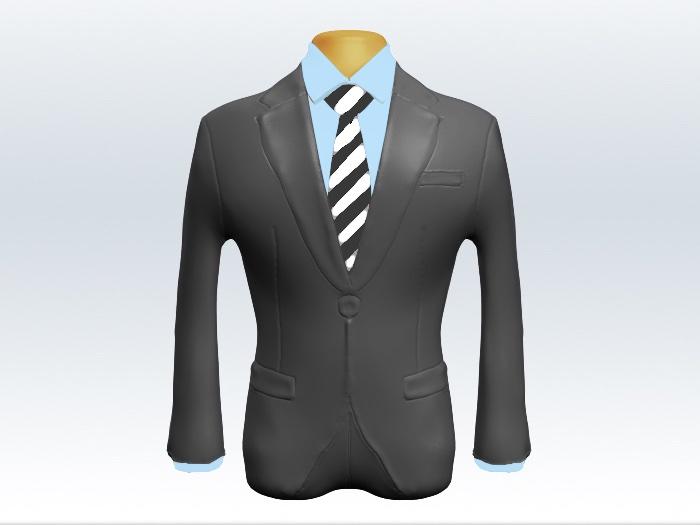 ライトグレースーツと灰白ストライプネクタイと青ワイシャツ