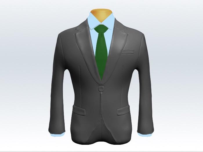 ライトグレースーツと緑無地ネクタイと白ワイシャツ