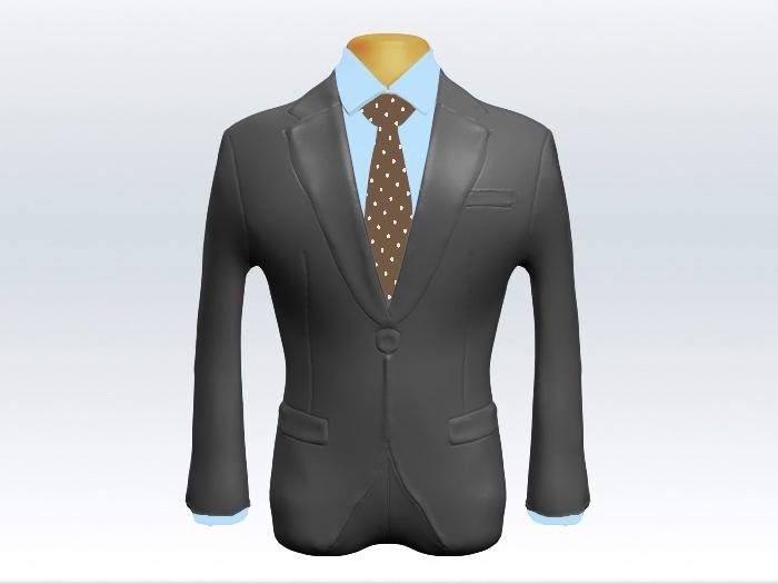 ライトグレースーツと茶色ドット柄ネクタイと青ワイシャツ
