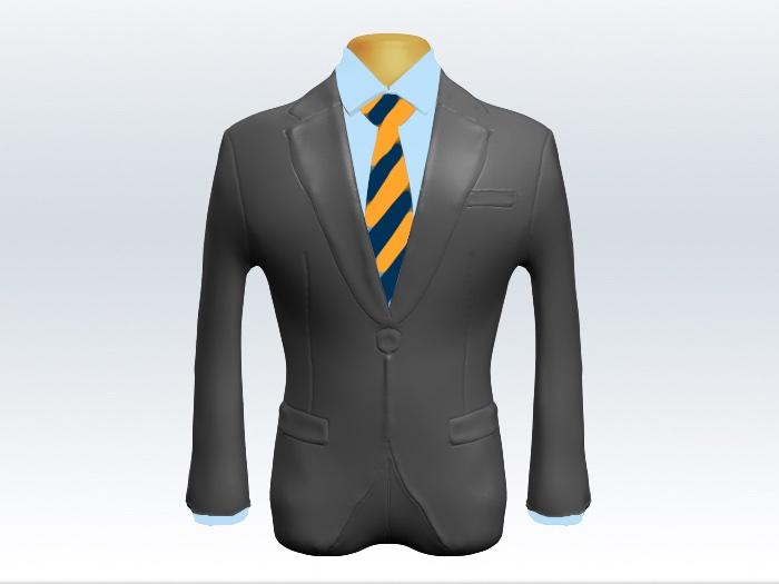 ライトグレースーツと黄紺ストライプネクタイと青ワイシャツ