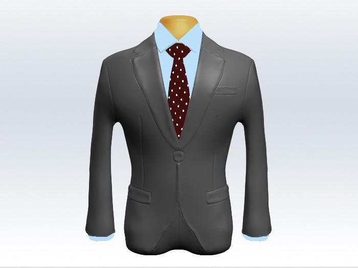 ライトグレースーツと赤色ドット柄ネクタイと青ワイシャツ