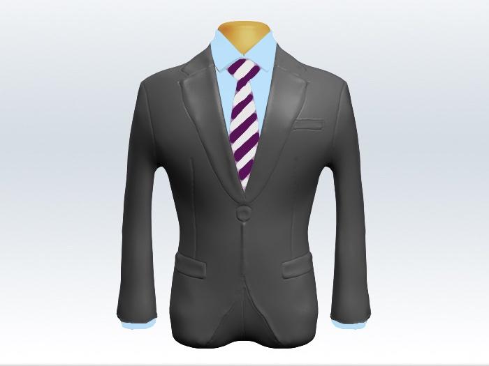 ライトグレースーツと紫白ストライプネクタイと青ワイシャツ