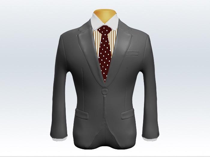 ライトグレースーツと赤色ドット柄ネクタイとロンドンストライプワイシャツ